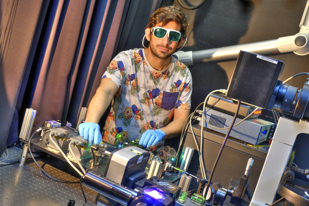 """Sometimes developing a microscope looks like DJing - I built this microscope to activate specific regions of a living cell. "" Bruni Scocozza, PhD student,  Systemic Cell Biology"